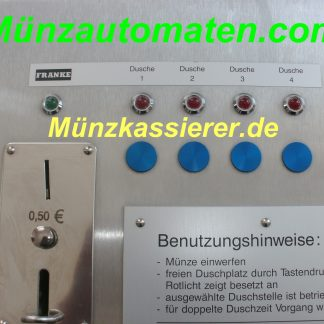 Münzautomat Münzkassierer 4 x DUSCHE 12V FRANKE 50Cent